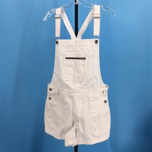 Abercrombie & Fitch White Denim Short Overalls